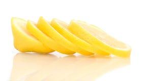 Limón rebanado en blanco imágenes de archivo libres de regalías