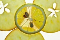 Limón rebanado y Apple aislados en blanco Fotografía de archivo