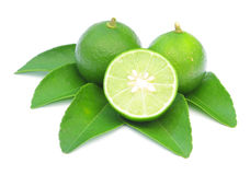 Limón verde con las hojas aisladas en blanco Imagen de archivo