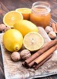 Limón y cinamomo Imagen de archivo libre de regalías