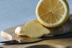 Limón y jengibre Imágenes de archivo libres de regalías