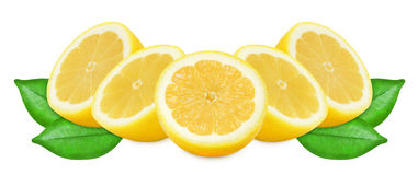 Limões amarelos suculentos em um fundo branco isolado Foto de Stock Royalty Free