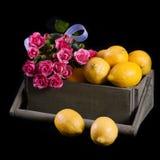 Limões com flores Imagens de Stock Royalty Free