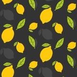 Limões com teste padrão sem emenda das folhas Fotografia de Stock Royalty Free
