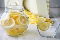 Limões cortados em uma lata foto de stock royalty free