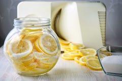 Limões cortados em uma lata e em um cortador fotografia de stock royalty free