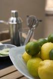Limões e cais da barra Fotografia de Stock