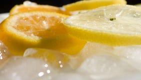 Limões e cubos de gelo alaranjados Imagem de Stock