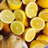 Limões e gengibre Fotografia de Stock