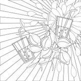 Limões e suco da página do livro para colorir ilustração royalty free