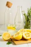 Limões espremidos, água, hortelã e limonada pronta Foto de Stock Royalty Free