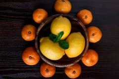 Limões na placa de madeira com os mandarino e as folhas da hortelã no macro escuro do close-up do fundo fotos de stock