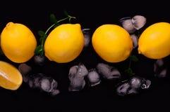 Limões no fundo preto Vista superior Imagem de Stock