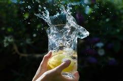 Limões que espirram na água Fotografia de Stock Royalty Free