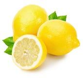 Limões saborosos isolados no fundo branco Imagens de Stock