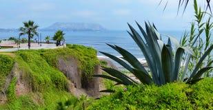 lima Перу Взгляд и общественный парк Тихоокеанского побережья в районе Miraflores стоковые изображения