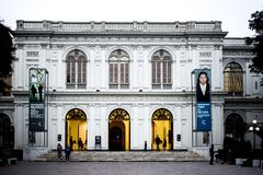 Lima Art Museum with two ads. Lima Peru royalty free stock image
