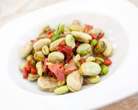 Lima beans with ham Stock Image