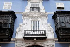 Detail of the colonial building development in the capital city Peru. Lima - capital of Peru. Cityscape - Plaza de Armas - main squer in town - colonial stock image