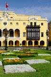 Detail of the colonial building development in the capital city Peru. Lima - capital of Peru. Cityscape - Plaza de Armas - main squer in town - colonial stock photo