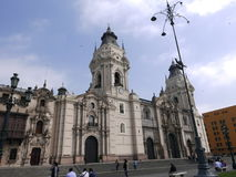 Lima cathedral on a beautiful day Royalty Free Stock Image