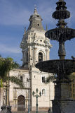 Lima Cathedral in Peru. Lima Cathedral in the Plaza de Armes in Central Lima in Peru Stock Photos