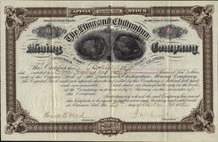 1882 The Lima and Chihuahua Mining Company Stock Certificate Stock Photo