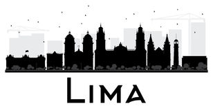 Lima City skyline black and white silhouette. Royalty Free Stock Photo