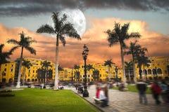 Lima is een stad op de Vreedzame kust van Zuid-Amerika Stock Foto's