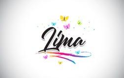 Lima Handwritten Vetora Word Text com borboletas e Swoosh colorido ilustração royalty free