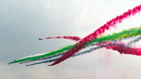 LIMA 2015 in Langkawi, Malaysia. LANGKAWI, MALAYSIA - 21ST MARCH 2015; Team Al-Fursan acrobatic from U.A.E with aircraft Aermacchi MB-33 during LIMA 2015 in Royalty Free Stock Image