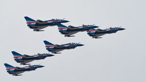 LIMA 2015 in Langkawi, Malaysia. LANGKAWI, MALAYSIA - 21ST MARCH 2015; Team Chengdu from China with aircraft  J10  during LIMA 2015 in Langkawi, Malaysia Royalty Free Stock Image