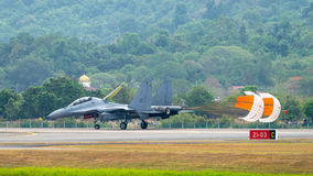 LIMA 2015 in Langkawi, Malaysia. LANGKAWI, MALAYSIA - 20TH MARCH 2015; Team Malaysian Royal Air Force  from Malaysia with aircraft Sukhoi SU-30  during LIMA 2015 Stock Image