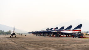 LIMA 2015 in Langkawi, Malaysia. LANGKAWI, MALAYSIA - 20TH MARCH 2015; Team Singapore's Black Night from Singapore with aircraft General Dynamics F-16 Fighting Royalty Free Stock Image