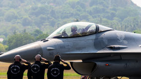 LIMA 2015 in Langkawi, Malaysia. LANGKAWI, MALAYSIA - 20TH MARCH 2015; Team United State Air Force from USA with aircraft McDonnell Douglas F-15 Eagle during Royalty Free Stock Images