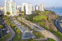 Aerial view of skatepark in Lima. royalty free stock images