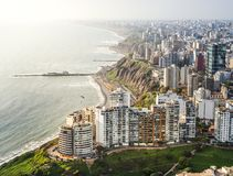 DRONE VIEW MIRAFLORES, LIMA, PERU stock images