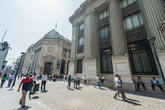 LIMA, PERU - APRIL 15, 2013: Downtown street in Lima, Peru. Close to the national bank Stock Image