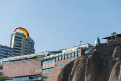 LIMA, PERU - APRIL 14, 2013: Miraflores area in Lima, Ultralight flight over the living area and rocks. Stock Photography