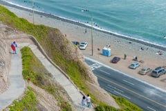 LIMA, PERU - APRIL 14, 2013: Pathway down to Beach in Miraflores, Lima, Peru. Royalty Free Stock Photo