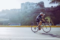 Ironman 70.3 Lima - Peru 2018. LIMA, PERU - APRIL 22th 2018: Ironman 70.3 . Athletes competing in the second stage of this great competition that is now cycling Stock Photography