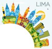 Lima Peru City Skyline avec les bâtiments de couleur, le ciel bleu et la copie S illustration stock