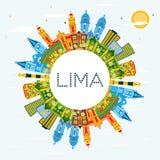 Lima Peru City Skyline avec les bâtiments de couleur, le ciel bleu et la copie S illustration libre de droits