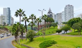 Lima, Peru. Crossroad and view at the street of Miraflores district royalty free stock photography