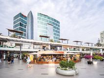 Larcomar shopping mall. Lima, Peru - December 30, 2016: View of the Larcomar shopping mall in Miraflores district during the sunset Royalty Free Stock Image