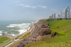 Lima, Peru. District of Miraflores with Costa Verde stock image