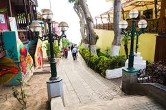 Tourism in Lima, the capital of Peru. Lima, Peru January 17th, 2018 : Natural creek where the fishermen who came from Surco to the beaches of Barranco and in stock image