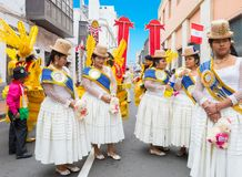 Traditional Peruvian costumes Lima. Lima Peru July 2018 on the occasion of the national festival at the end of July the inhabitants of Lima dress in traditional stock photo