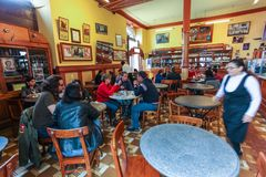 Peruvian traditional food restaurants. Lima, Peru, July 2018: Tourists from all over visit Peruvian traditional food restaurants for their international fame stock images