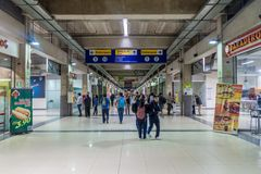LIMA, PERU - JUNE 4, 2015: Corridor of Estacion Central Central Station of Metropolitano rapid transport bus system. Station stock image